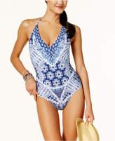 Jessica Simpson Bondi Tie-Dyed Strappy Back One-Piece Swimsuit