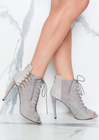 Missy Empire Lindsey Grey Open Toe Lace Up Heels