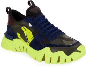 Valentino Men's Neon Camouflage Sneakers