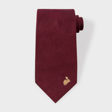 Paul Smith Men's Rabbit Embroidered Black Silk Tie