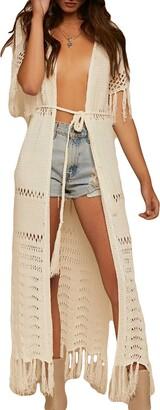Bsubseach Sexy Beige Crochet Tassel Long Bikini Swimsuit Cover Ups for Women Hollow Out Swimwear Knitted Kimono Cover Up