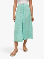 Thumbnail for your product : MANGO Floral Print Midi Skirt, Turquoise