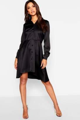 boohoo Dipped Hem Luxe Satin Shirt Dress