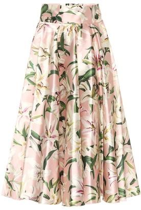 Dolce & Gabbana Floral silk-satin midi skirt