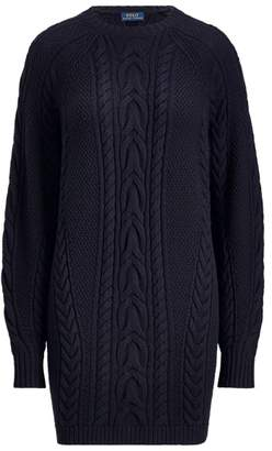 Ralph Lauren Aran-Knit Wool Sweater Dress