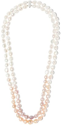 Yoko London 18kt white gold Ombre Baroque Freshwater pearl necklace