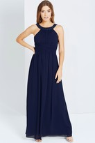 Little Mistress Navy Embellished Empire Maxi dress