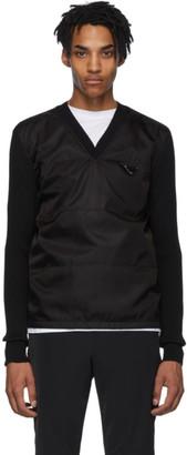 Prada Black Wool and Nylon V-Neck Sweater