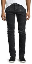 Hudson Blinder Biker Distressed Moto Jeans, Black