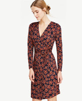 Ann Taylor Petite Blooms Matte Jersey Wrap Dress