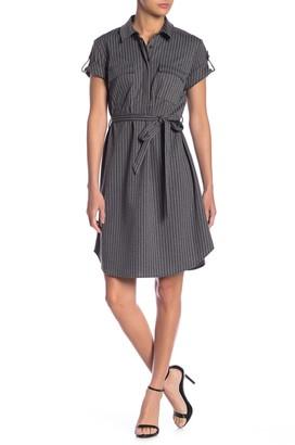 Nanette Lepore Striped Short Sleeve Shirt Dress