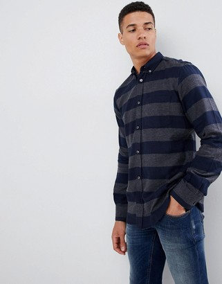 French Connection Stripe Flannel Shirt-Gray
