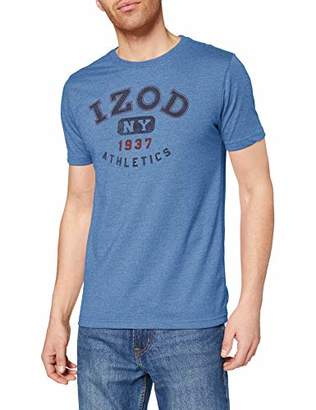 Izod Men's Block Logo Graphic TEE T-Shirt, (Saltwater RED 648), L