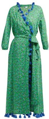 Rhode Resort Lena Tasselled Floral-print Cotton Wrap Dress - Womens - Green Print