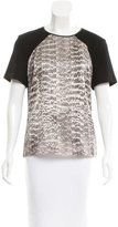Jason Wu Leather-Trimmed Snake Print Top