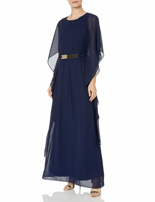 Sangria Women's Chiffon Gown with Gold Belt Detail