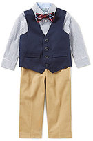 Class Club Little Boys 2T-7 Button-Front Shirt, Vest, Flat-Front Pants, & Plaid Bow Tie 4-Piece Set