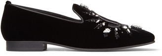 Jimmy Choo SACHE FLAT Black Velvet JC Embroidered Slippers with Crystal Detail