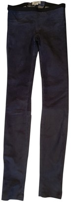 Helmut Lang Blue Suede Trousers