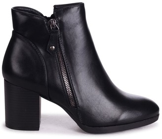 Linzi HALLIE - Black Nappa Stacked Block Heeled Ankle Boot With Outer Zip Detail
