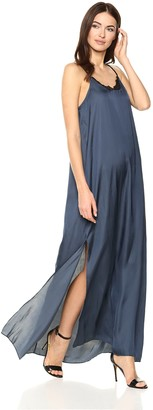 Halston Women's Sleeveless Flowy Maxi Dress with Applique