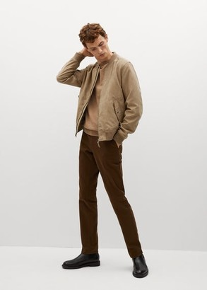 MANGO MAN - Faux-suede bomber jacket beige - S - Men