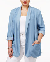Jessica Simpson Trendy Plus Size Chambray Blazer