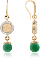 Rebecca Boulevard Stone Yellow Gold Over Bronze Dangle Earrings w/Green Hydrothermal Stone
