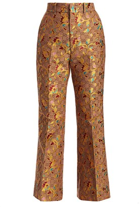 Gucci Ramage-Print Flare Silk & Wool Trousers