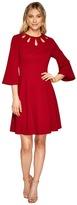 Christin Michaels Brielle Bell Sleeve Dress with Neckline Detail Women's Dress
