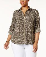 MICHAEL Michael Kors Size Mini Finley Zip-Front Shirt