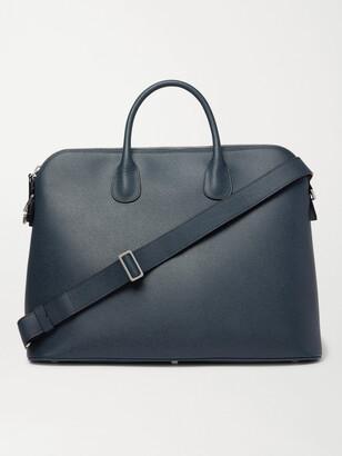 Valextra My Logo Pebble-Grain Leather Briefcase - Men - Blue