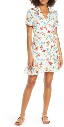 Charles Henry Floral Ruffle Collared Linen Wrap Minidress (Regular & Petite)