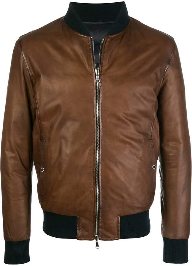Barba leather bomber jacket