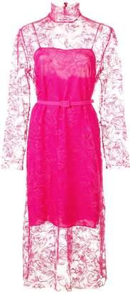 Carmen March floral lace midi dress
