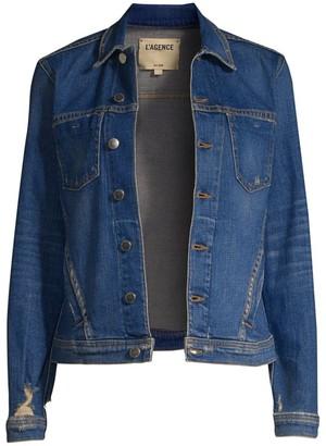 L'Agence Celine Distressed Denim Jacket