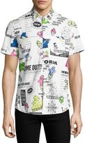 Kenzo Cartoon Logo-Print Short-Sleeve Shirt, White