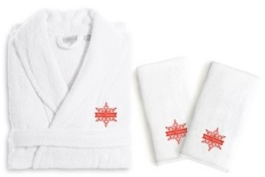 Linum Home Textiles Embroidered Luxury Hand Towels and Terry Bathrobe Set - Merry Christmas Bedding