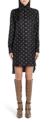 Fendi Logo Print Long Sleeve Silk Shirtdress