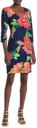 Trina Turk 3/4 Sleeve Floral Print Dress