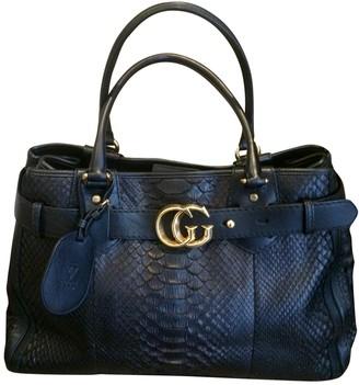 Gucci GG Running Black Python Handbags