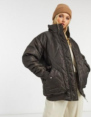 ASOS DESIGN hero quilted oversized bomber jacket in brown