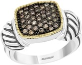 Effy Sterling Silver & 18K Yellow Gold Brown Diamond Pave Ring - Size 7 - 0.37 ctw