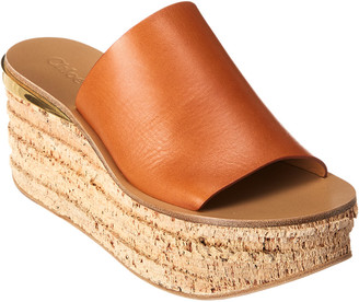 Chloé Camille Leather Platform Wedge Sandal