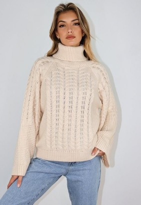 Missguided Stone Wide Sleeve Cable Knit Turtle Neck Sweater