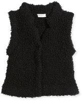 Milly Minis Faux Fur Cashmere-Blend Vest, Black, Size 8-14