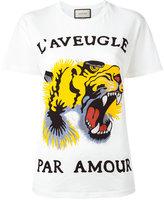 Gucci tiger print T-shirt - women - Cotton - M