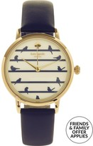 Kate Spade Metro Birds On A Wire 34mm Leather Watch -Navy