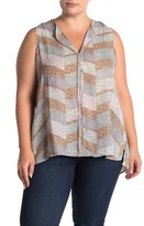 Bobeau Lily Snake Print Pleated High/Low Sleeveless Blouse (Plus Size)