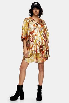 Topshop Womens Jacquard Shorts - Gold